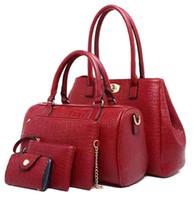 Wholesale Handbag Oil - Four Sets Wax oiled Genuine Leather Women Handbag Shoulder Crossbody Composite Bags for Ladies Handbag+Messenger Bag+Purse+Wallet In Stock