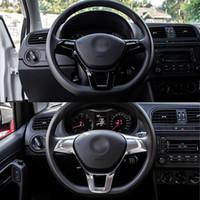 Wholesale Volkswagen Steering Wheels - Car Steering Wheel Trim Cover Decoration for VW Volkswagen Golf MK7 Polo 2014 2015 ABS Plastic Decorative Stickers
