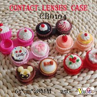 Wholesale Contact Lens Wholesalers - FREE SHIPPING CB0104 cute 3D cupcake DECO colorful contact lens cases con care PVC packing travel boxes