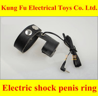 Wholesale Electric Shock Physiotherapy Rings - Physiotherapy male penis electric shock belts electro sex Cock ring Multifunctional Massage Quality leather sex toy sex products