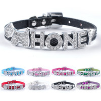 Wholesale Leather Cat Collars Rhinestones - (8 colors) XXS XS Bling Puppy Dog Cat Personalized Collars Customed Name Rhinestone Buckles For Small Breeds
