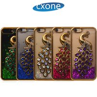 Wholesale Flow Iphone - Peacock Bling Diamond Glitter Style Transparent with Liquid Flowing Quicksand For iPhone 5 6 6s 7 8 Plus with Free Shipping