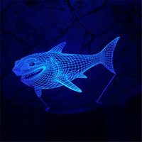 Lampes De Table Décoratives Pas Cher-3D Requin Enfant Nuit Animal Illusion Optique Lampe de Table Lampe Touche 7 Couleur Pépinière Accueil Lumière Party Decor FriendHoliday Cadeau