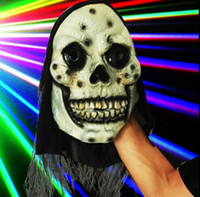 Wholesale Cheap Scary Halloween Costumes - Skull long haired zombie Horror latex Scary devil Halloween For masquerade Party Cheap Skeleton Costume Supplies Cosplay Ghost Terror mask