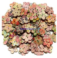 Wholesale Wooden Buttons Wholesale - New 100 Pcs Mixed Patterns Wooden Buttons Flower Sewing Button 2 Holes Scrapbooking Craft Clothes Decorations
