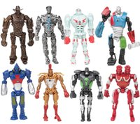 Wholesale Real Steel Twin Atom - 8 Pcs Set Real Steel Toys Atom Movie Zeus Twin Cities Midas Robot Anime PVC Action Figures Kids Toys For Boys Birthday Gift free shipping