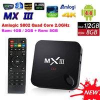 Wholesale Android Tv Box A9 Quad - MXIII MX III M82 Amlogic S802 Quad Core Cortex-A9 Android 4.4 WiFi TV Box 2GB 8GB Media 4K HDMI Wifi XBMC Set Top MX3 IR Remote Mini PC