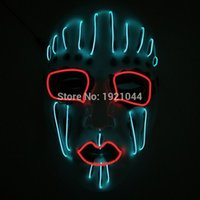 Nuovo design Funny Party Mask Neon glow light EL wire Maschera incandescente con DC-3V Steady on For Halloween Party Decor