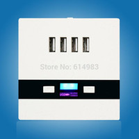 Wholesale White Wall Plate Switch - Newest Universal 4 USB Port 3A Wall Face Plate Outlet Panel Power Supply Socket Plug Switch Charger