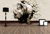 Wholesale Printed Stickers - Cool 3D Large View Rhino Kung Fu Panda Elephant Lion Dolphin Wall Stickers Art Mural Decal Cartoon Wallpaper Bedroom Hallway Children Home