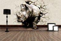 cartoon rhinos - Cool D Large View Rhino Kung Fu Panda Elephant Lion Dolphin Wall Stickers Art Mural Decal Cartoon Wallpaper Bedroom Hallway Children Home