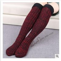 Wholesale Lounge Socks - 14 Styles Winter Leg Warmers Socks Thigh High Winter Slippers Knee High Stocking Knitted Slipper Boot Socks Cable Knit Lounge Hosiery2015