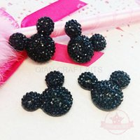 Wholesale Resin Minnie Mouse - 500pcs Flatback Resin Mouse Cabochon Dotted Rhinestone 13mm Black Faux Rhinestone for Post Earrings minnie Inspired