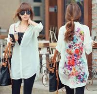 kore tarzı bluzlar toptan satış-Avrupa tarzı Kadınlar Vintage retro Çiçek şifon gevşek gömlek İyi Bayanlar Kızlar kore İnce casual uzun kollu bluzlar Gömlek ...