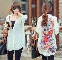 koreanische blüten-chiffon-bluse großhandel-Europäische Art Frauen-Weinlese-Retro- Chiffon- lose mit Blumenhemden Beste Damen-Mädchen-koreanische dünne beiläufige lange Hülsenblusen Hemd übersteigt Pullover