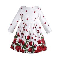 Wholesale Wholesale Designer Children Clothes - Baby Girl Dress Long Sleeve Rose Petals Flower Gilrs Clothes Kids Dresses Winter Designer Princess Dress Christmas Children Clothing 3-8Y
