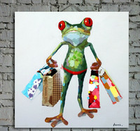 Wholesale Oil Painting Hand Bag - Hand Painted Animal Oil Painting on Canvas Lovely Frog with Shopping Bags 1pc for Sofa Wall Decoration