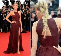 Wholesale New Celebrity Gossip - Sexy Gossip Girl Blake Lively In Cannes Red Carpet Celebrity Dresses Chiffon High Split Evening Gowns Formal Prom Party Dress Cheap New