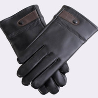 Wholesale Wholesale Personalized Gloves - 12pairs lot Personalized Design Full Finger Velvet Gloves Thicken PU Leather Mittens Man's Driving Outfits GL114