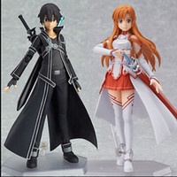 Wholesale Sword Art Online Action Figures - sword art online lovely Hand model Asuna Kirito MaxFactory figma SAO movable toy doll Action Figure cartoon ornaments arts&crafts collection