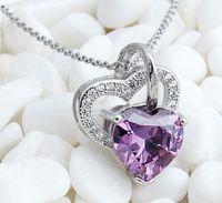 Wholesale Swarovski Crystal Stones - 2015 Silver Necklace Stone Heart Necklace Swarovski crystals Pendant Necklace