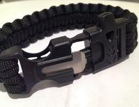 Wholesale Survival Climbing - 10 PCS Lifesaving whistle Bracelet cord Survival parachute rope Steel flint