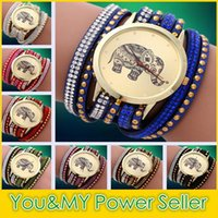 blue elephant watch - 2015 New Brand Fashion Elephant Quartz Multilayer Leather Rivets Bracelet Watch Women Rhinestone Casual Relogio Feminino Watches Colors
