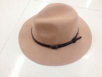 Wholesale Winter Vintage Felt Hat - New Vintage Man's Belt Wide Brim 100%Wool felt Hat Floppy Bowler Fedora Cap For Woman Free Shipping