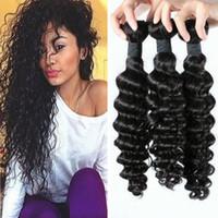 dalga saç india toptan satış-8A Hindistan Çift Atkı Boyanabilir Derin Dalga Doğal Renk Saç Demetleri Bakire Saç Ürünleri huihao_hairs