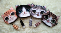 Wholesale Cartoon Ladies - 4styles new cat coin purse ladies 3D printing cats dogs animal big face change fashion meow star people cartoon zipper bag for children