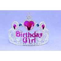 Wholesale Children Crowns Tiaras Plastic - Vintage plastic Crystal Happy Birthday Hair Accessories For Children Birthday Girl Tiaras And Crowns Pageant Jewelry Crown