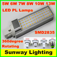 Wholesale G24 Cree - SMD 2835 LED Horizontal Plug Lamp E27 G23 G24 G24q G24d LED Corn light Bulbs 5W 7W 9W 10W 12W Down lighting AC85-265V