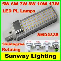 lámpara led horizontal al por mayor-SMD 2835 LED Lámpara de enchufe horizontal E27 G23 G24 G24q G24d Bombillas de luz LED de maíz 5W 7W 9W 10W 12W Iluminación de fondo AC85-265V