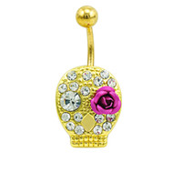 Wholesale Skull Ring Rose - Classic Belly Button Ring Surgical Steel White Rhinestone Skull Face With Rose Navel Rings Body Piercing Jewelry