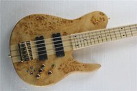 Nature Wood Fodera Imperial Bass One Piece Maple Neck através do corpo Maple Fretboard Golden Hardware Butterfly 5 String Electric Bass Guitar