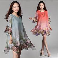 Wholesale Pregnant Woman Clothes Plus Size - 1PC Clothes For Pregnant Women Maternity Dresses Fashion Flower Plus Size Chiffon Dress in stock dongguan_wholesale New ZZ3066