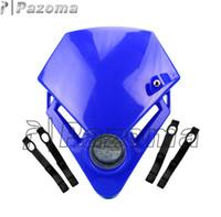 Wholesale Dirt Bike Lights - PAZOMA Universal Motorcycle Headlamp Racing Dirt Bike Motor LED Bulb 12v polypropylene DrIving Light Vision Light Head Lights Like GASGAS