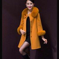 Wholesale Women Beige Coat Cashmere - Skirt Style Fashion Winter Autumn Women Wool Coat 2015 New Fashion Faux For Fur Collor Women Clothing Plus Size Casaco Feminino