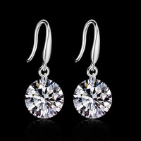 Wholesale Dangle Cz Earring - 2015 new design 925 sterling swiss CZ diamond drop earrings fashion jewelry beautiful wedding   engagement gift free shipping