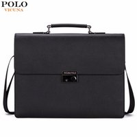 VICUNA POLO Business Man Borsa Theftproof Lock Nero Valigetta in pelle per uomo Solid Bank OL Mens Borsa Valigetta Dress Man Borsa