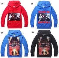 Wholesale Larger Children Clothes - Fashion Cartoon Star Wars Boys Hoodies 6-14Y Larger Boy Hooded T Shirts Children Sputerwear coat fashion clothing