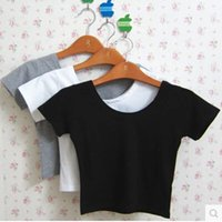 Wholesale High Neck Crop Top Black - EAST KNITTING Solid Color T-shirt All-match Crop Tops O-neck Short Sleeve T-shirts Girls Leisure High Waist Tops Free Shipping