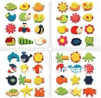 ücretsiz not etiketi toptan satış-Ücretsiz kargo Sevimli hayvan Ahşap dolabı magnet Memo Sticker