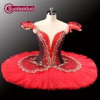 traje de cisne adulto venda por atacado-Adulto preto vermelho profissional tutu ballet tutu vermelho para o desempenho preto cisne traje meninas ballet tutu sd0014