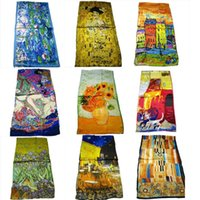 Wholesale Van Gogh Painting High Quality - Wholesale-100% Silk Hot-selling High Quality all season silk scarf Van Gogh Artist oil painting long silk scarf women 42*160cm or 53cm*160cm