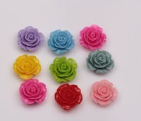 Wholesale Rose Cabochon Resin - Hot ! 20mm Cutie Resin Rose Flower Flat Back Cabochon Assorted Mix Color(002666)