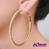 Wholesale- Silver / Gold 60mm Single Row Basketball Wives Crystal Rhinestone Big Hoop Earrings