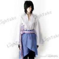 Wholesale Naruto Belts - Wholesale-Naruto Cosplay Sasuke Uchiha 3rd ver Costume Suit (TOP+ APRON+ TROUSERS+BELT)
