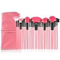 caja de pinceles de maquillaje rollo al por mayor-24 Unids Pinceles de Maquillaje Profesional conforman Kit de Cepillo Cosmético Kit de Herramientas + Roll Up Case envío gratis A-0315