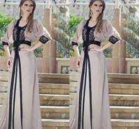 jalabiya elbiseleri toptan satış-Vintage Siyah Dantel Gelinlik Modelleri Kaftan Arapça Jalabiya Fas Dubai Müslüman 2016 Abaya Dubai Uzun Akşam Elbise Ile 3/4 Uzun Kollu